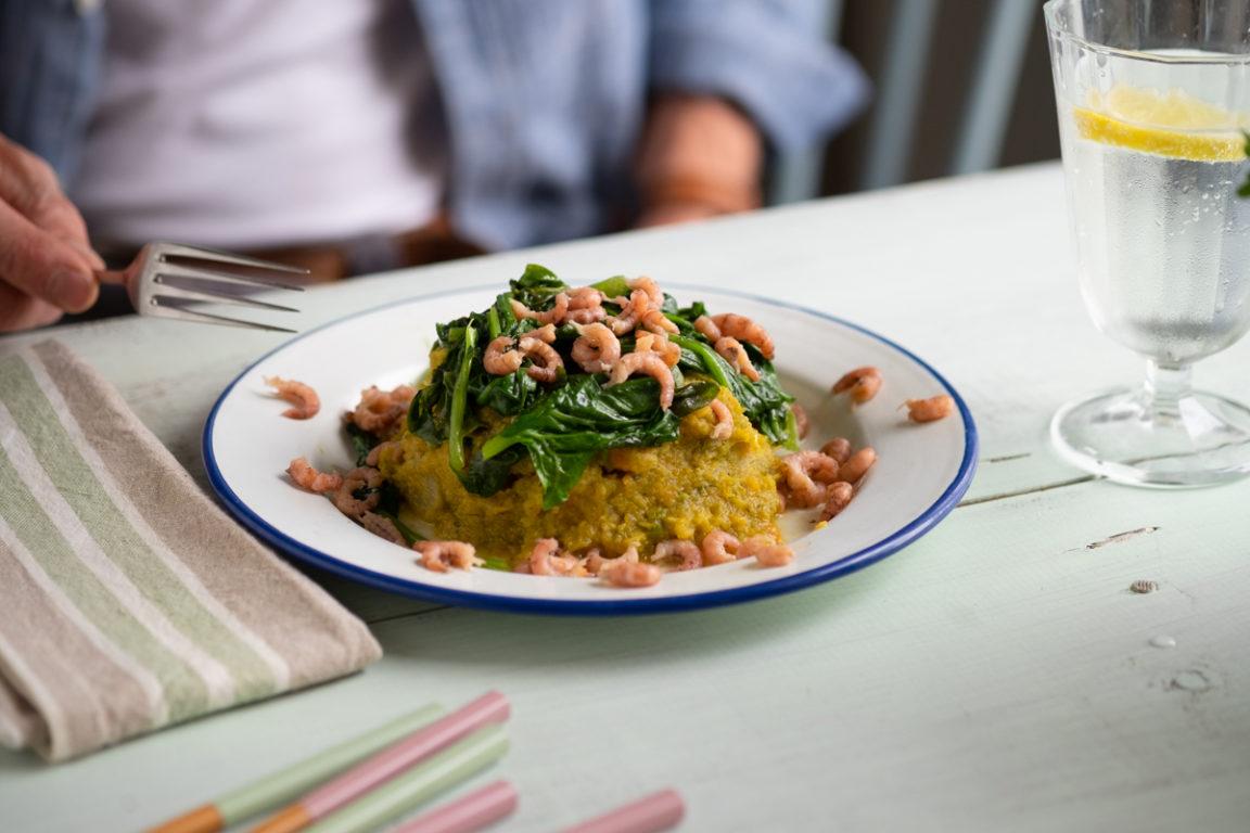 Gemengde puree met spinazie en garnaaltjes